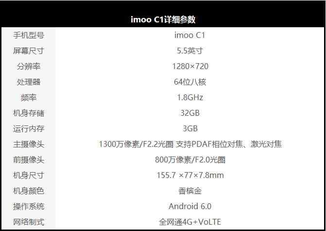 imoo C1手机参数