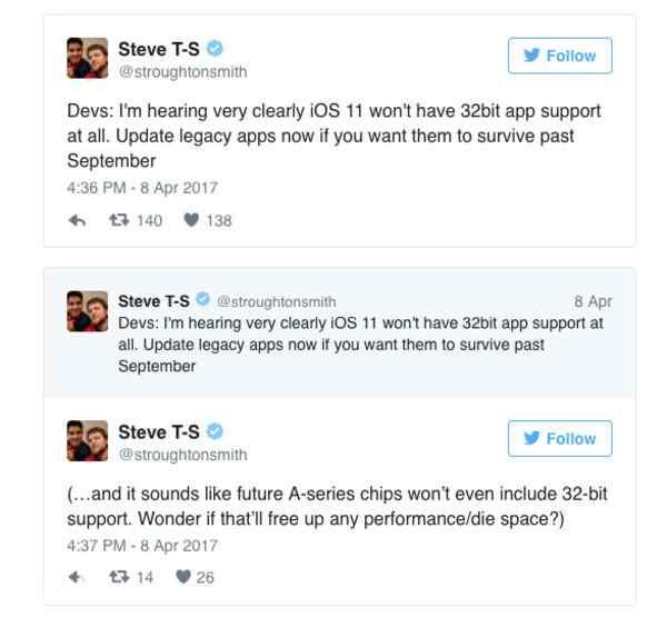 iOS 11将不再支持32位应用