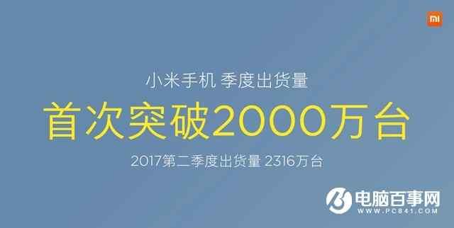 小米手机季度出货量首次突破2000万台