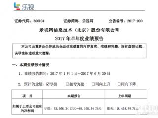 乐视网2017年半年度业绩预告新鲜出炉 净亏6.4亿