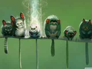 动物世界插画壁纸 搞怪卡通动物壁纸 卡通小动物图片