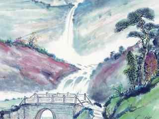 手绘中国国画高清壁纸  国画山水图片 山水人家高清图