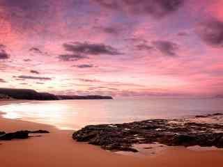 海边沙滩夕阳风景壁纸图片 浪漫沙滩桌面  沙滩星空壁纸