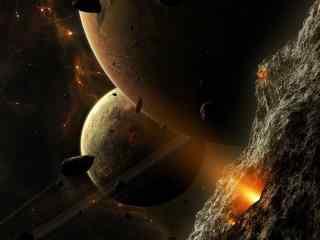 陨石星空壁纸 太空陨石风暴壁纸 陨石坠落图片