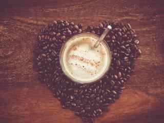 咖啡杯精美桌面壁纸 咖啡豆咖啡杯图片 咖啡拉花图片