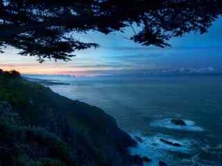 夕阳大海特写桌面 大海风景 唯美朝霞大海摄影