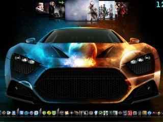时尚炫酷跑车桌面秀 清新炫酷跑车桌面秀下载 动感黑色跑车下载