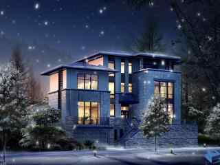 华丽别墅风景图片 自然风貌别墅桌面壁纸 别墅图片