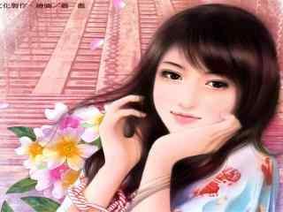 手绘清纯美女高清桌面壁纸 创意手绘女生图片 手绘美女女星桌面下载