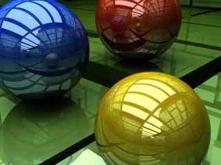 三维立体球桌面壁纸 红色动感球体壁纸 唯美动感球体壁纸