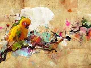 鸚鵡插畫桌面(mian)壁紙 高清鸚鵡攝(she)影壁紙 鸚鵡圖片