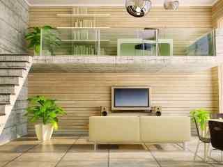 家居简约客厅桌面壁纸 时尚客厅设计图片下载