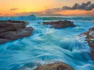 海岸岩石图片 海边岩石自然景观壁纸 彩色岩石桌面壁纸下载