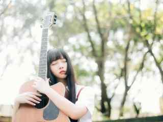 文艺范吉他女生壁纸_文艺范女生唯美桌面壁纸_唯美吉他女生壁纸