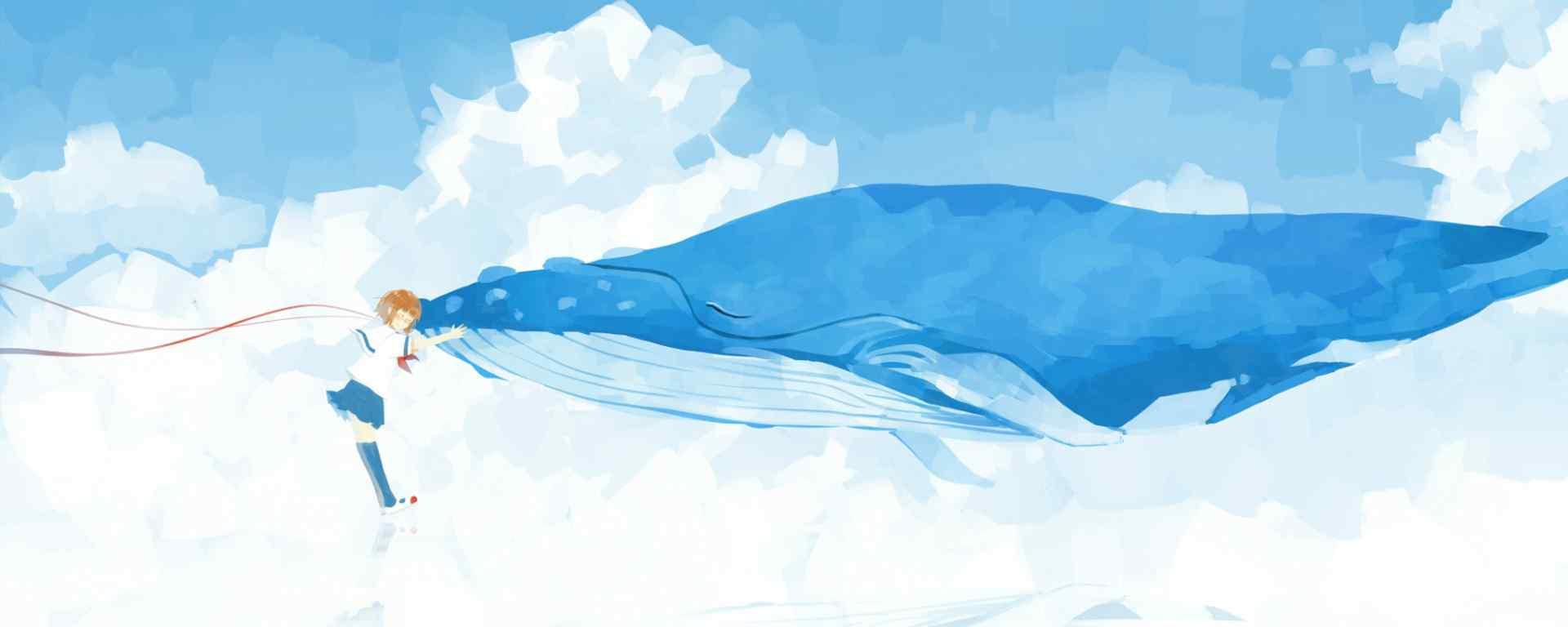 鲸鱼_鲸鱼卡通_鲸鱼手绘_鲸鱼壁纸
