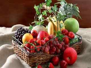 秋季养生美食_水果_柿子、冬枣、山楂、柚子、葡萄、板栗、石榴_美食壁纸