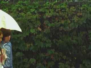 雨的印记_下雨天_雨中的小城_雨后彩虹桌面壁纸
