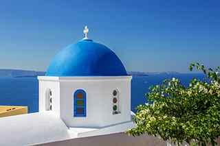 圣托里尼风景图片_圣托里尼海岛图片_蓝顶教堂风景图片_海岛风景桌面壁纸、手机壁纸_风景图片