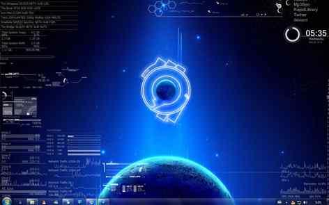 蓝色唯美主题桌面
