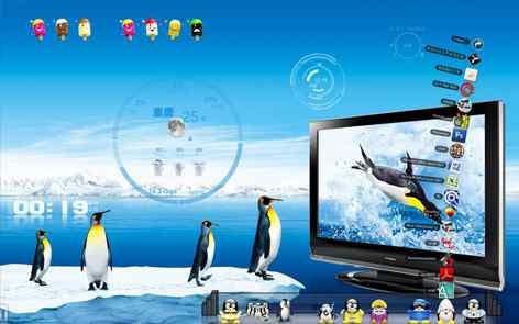 可爱企鹅透明主题