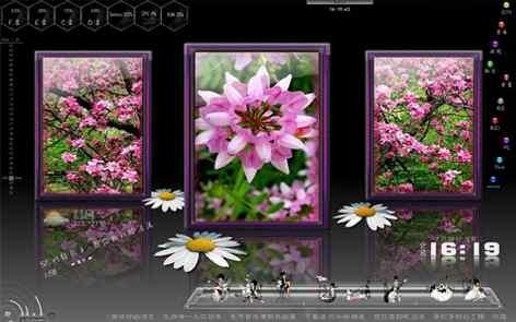灰色花卉主题桌面