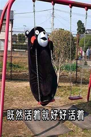 可爱荡秋千的熊本熊表情包手机壁纸