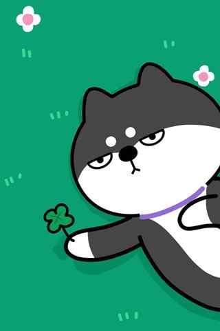 创意可爱柴犬表情包之送你小花手机壁纸