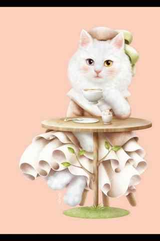 呆萌可爱的手绘猫