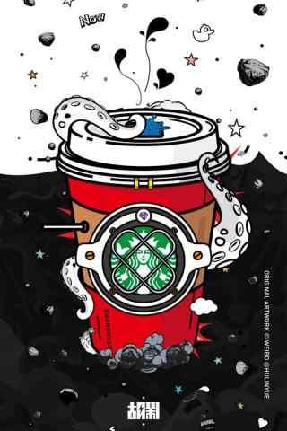 星巴克创意手绘图片手机壁纸