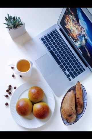 面包下午茶摆拍图片简约手机壁纸
