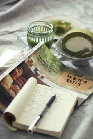 抹茶风味面包创意图片手机壁纸