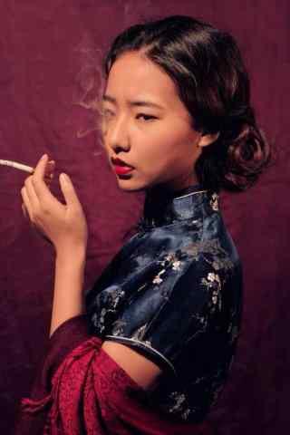 民国风复古红唇美女图片手机壁纸
