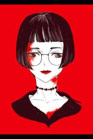 红唇女孩创意卡通图片手机壁纸