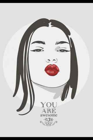 个性手绘红唇美女图片手机壁纸