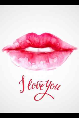 唯美粉色红唇图片手机壁纸