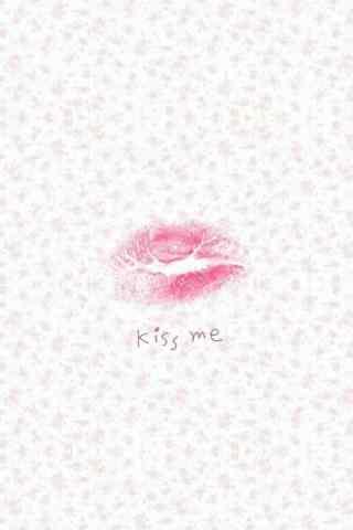 粉色碎花小清新红唇图片手机壁纸