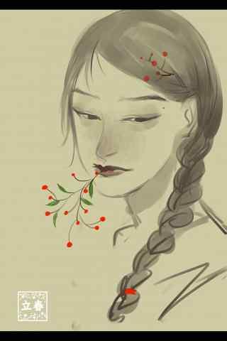 立春节气之手绘人像唯美手机壁纸