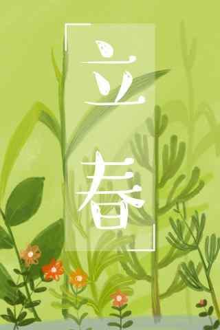 立春节气之小清新绿色自制图片手机壁纸