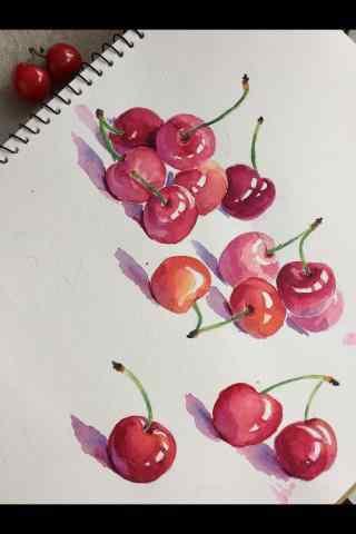 手绘红色小樱桃图片手机壁纸