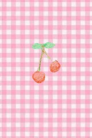 粉色的格子背景可爱樱桃图片手机壁纸