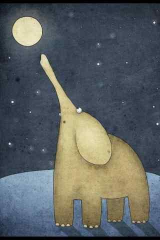 创意手绘大象与月亮手机壁纸
