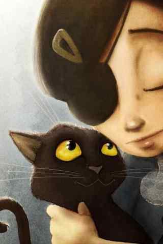 创意手绘女孩抱着猫咪手机壁纸