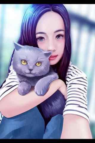 女孩抱着猫咪手绘手机壁纸