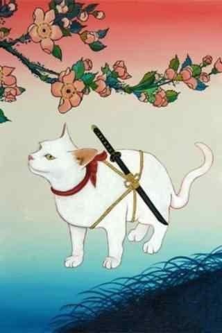 日本武士猫咪手绘手机壁纸
