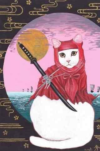 创意日本武士猫咪手绘手机壁纸