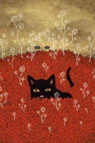 创意手绘风格猫咪手机壁纸