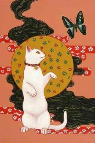 复古手绘风格猫咪手机壁纸