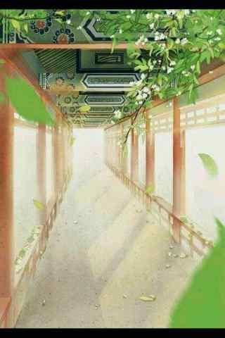 古风手绘长廊风景手机壁纸