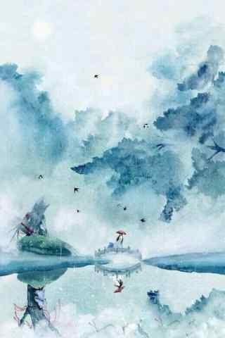 唯美古风山水画风景手机壁纸