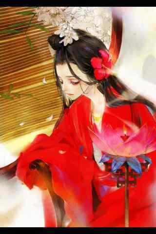 唯美手绘古风红衣美人壁纸